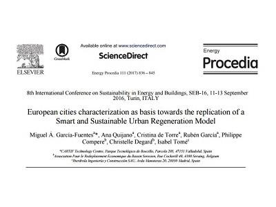 European Cities Characterization as Basis towards the Replication of a Smart and Sustainable Urban Regeneration Model